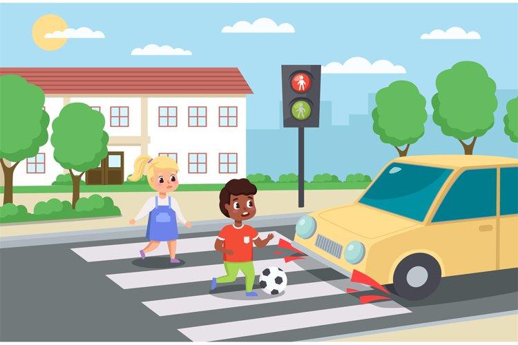 Violation road rules. Kids abruptly cross path, dangerous sc
