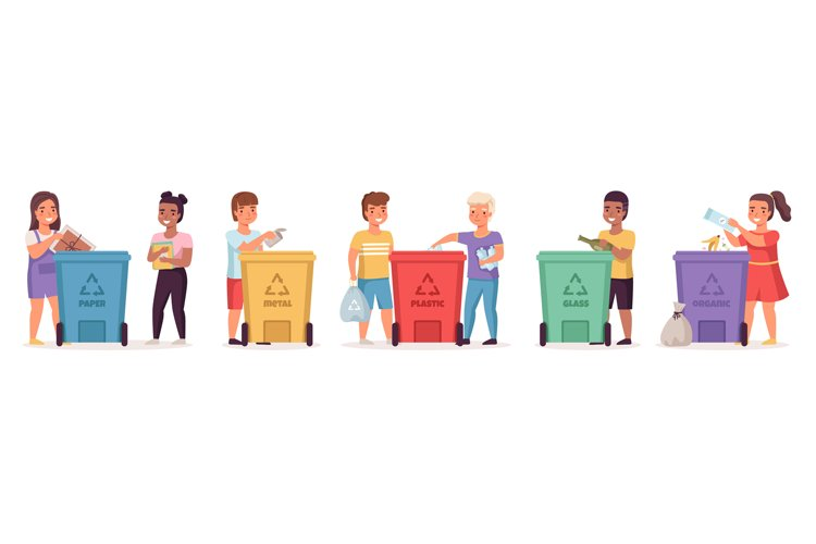 Kids sort garbage. Responsible boys and girls lay out trash