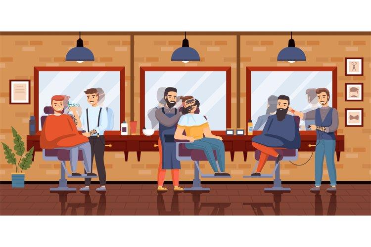 Barber shop interior. Gentlemans in hair salon interior, mir