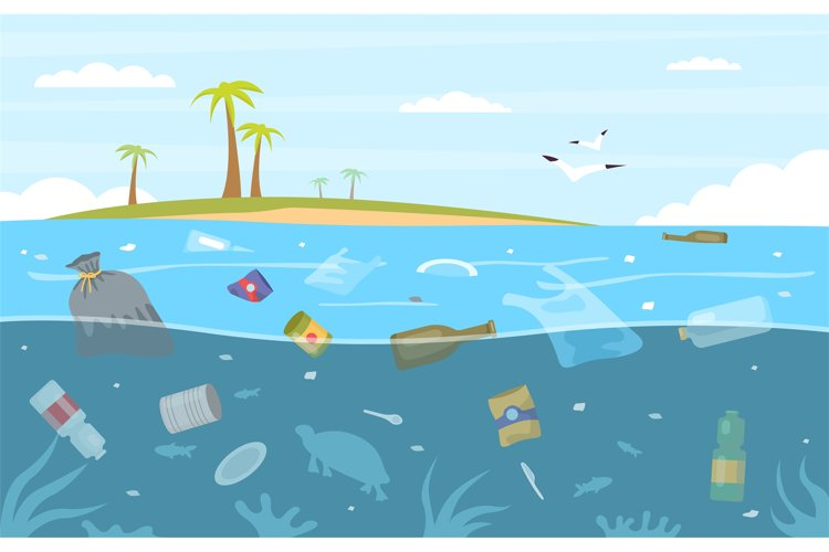 Sea garbage. Plastic trash floating in water. Seascape with