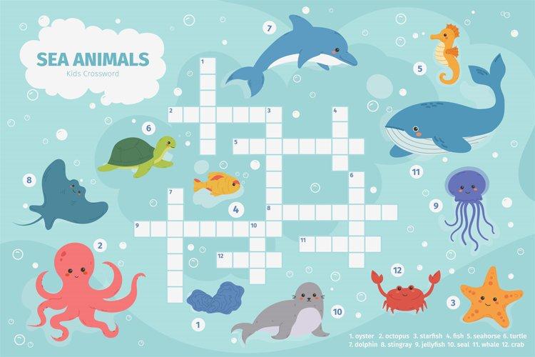 Sea animals crossword. Kids crossword puzzle game, underwate