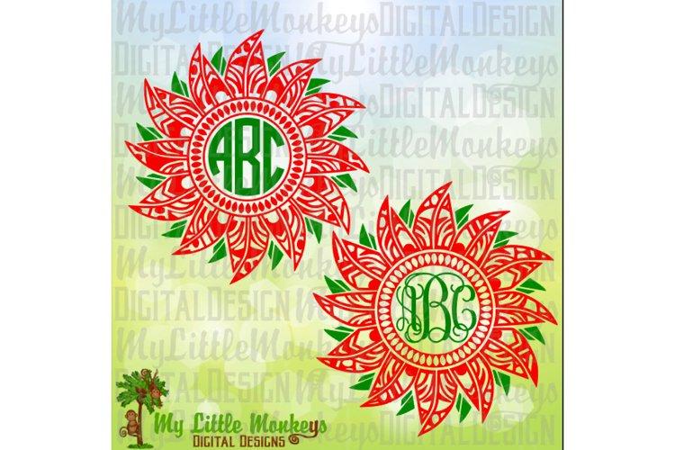 Poinsettia Mandala Monogram Base example image 1