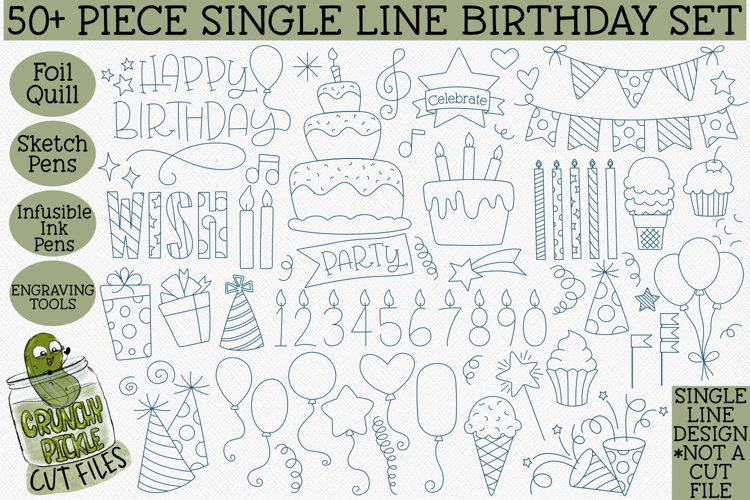 Foil Quill Birthday 50 Piece Bundle / Single Line
