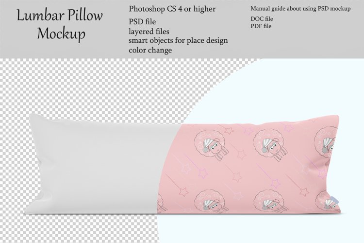 Lumbar pillow mockup. Front view. Product mockup. example image 1