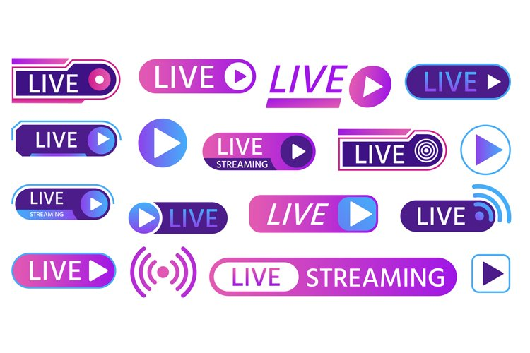 Live icons for game streaming, tv broadcasting, show or news example image 1
