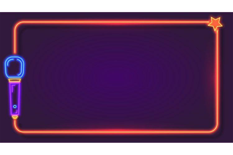 Night neon karaoke frame for song lyrics with microphone. Mu example image 1