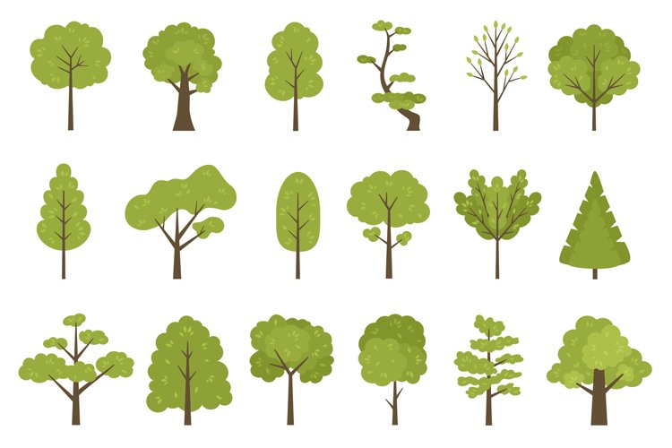 Flat forest trees icons, garden or park landscape elements. example image 1