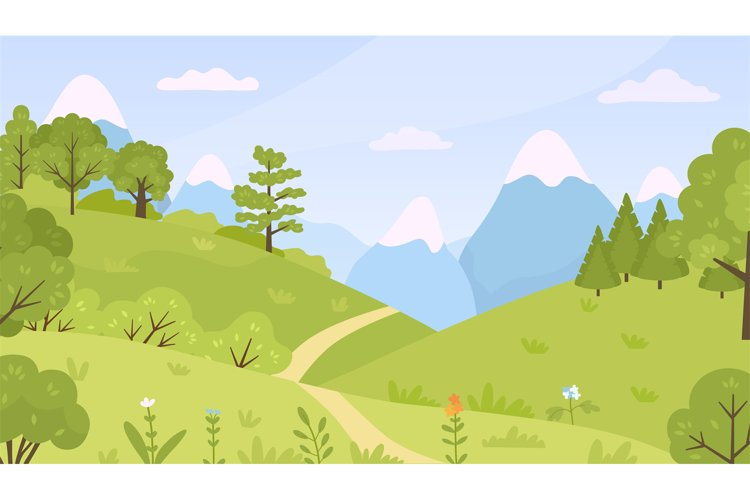 Flat forest with meadow, trees, bushes and mountains landsca example image 1
