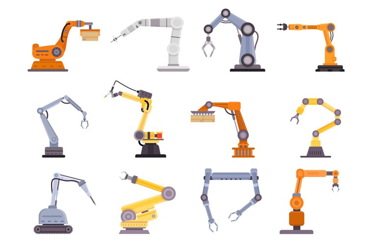 Factory robot arms, manipulators and cranes for manufacture example image 1