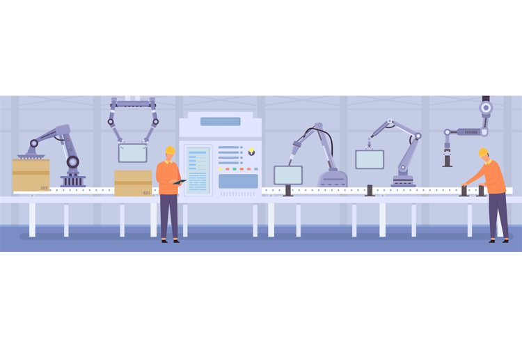 Robot arms and people workers on manufacture conveyor line. example image 1