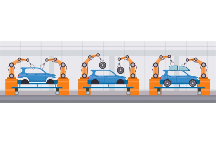 Industry robot arm assemble cars on conveyor belt. Automobil example image 1