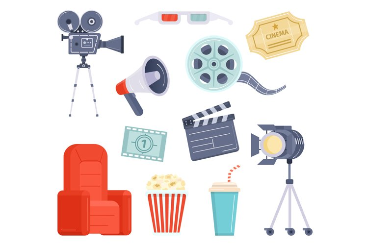 Flat movie watching and production element, cinema ticket, f example image 1