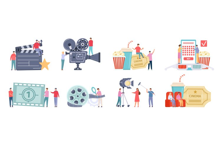 Flat tiny characters recording, making and watching movies. example image 1