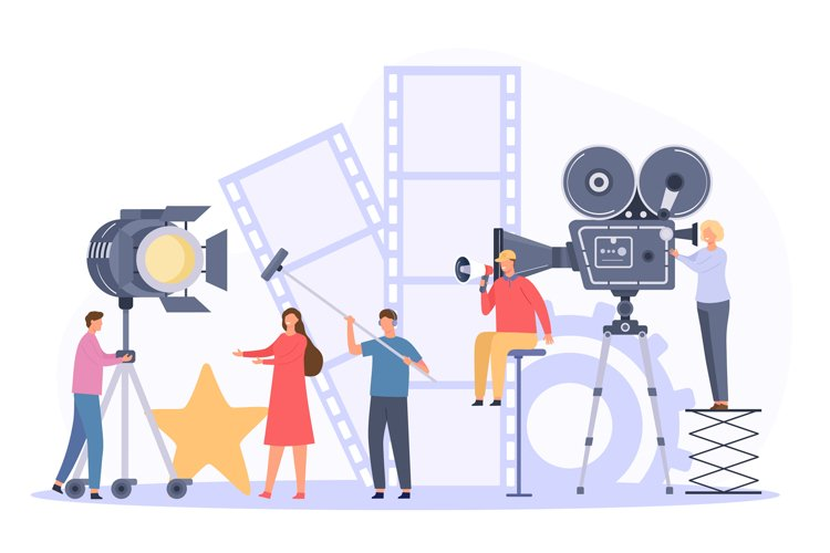Movie production team shooting film actor on camera. Flat ci example image 1