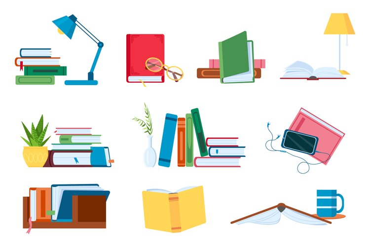 Reading literature, flat book stacks and piles for study. Op example image 1