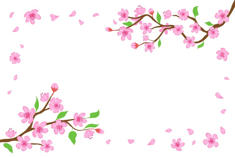 Cartoon japanese cherry blossom and falling petals backgroun example image 1