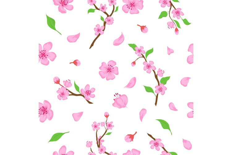 Pink sakura blossom flowers, petals and branches seamless pa example image 1