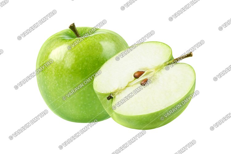 Perfect Green Apple Isolated on White example image 1