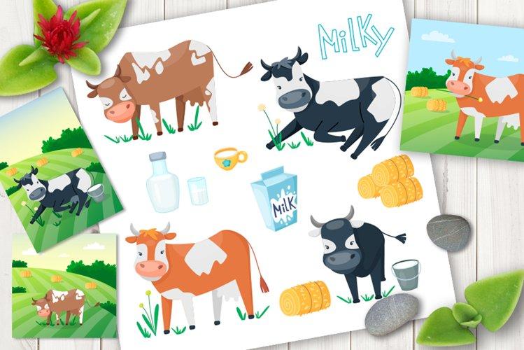 Cartoon cows cute vector set example image 1