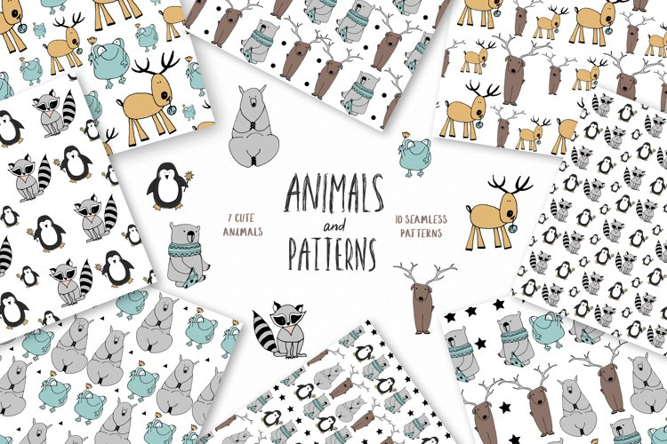 Animals & patterns for baby nursery Cute baby illustrations example image 1