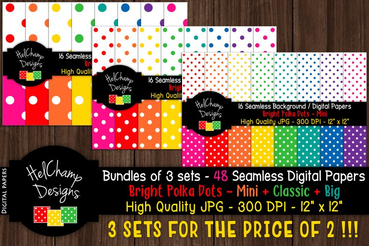 48 seamless Digital Papers - Dots Brights serie - DB004
