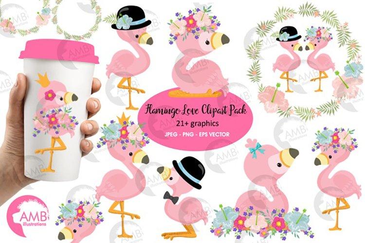 Flamingo clipart, flamingo LOVE clipart AMB-2472