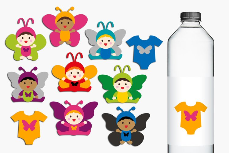 Baby in butterfly costumes clip art illustrations example image 1