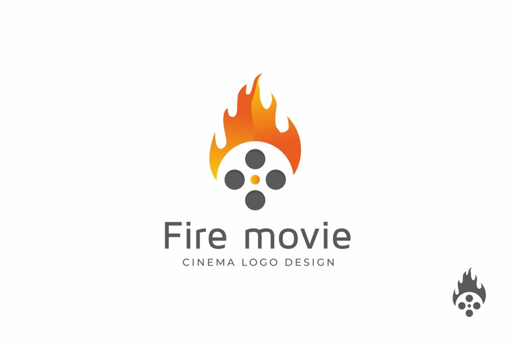 Movie Roll Cinema with Fire Flames Logo Design example image 1