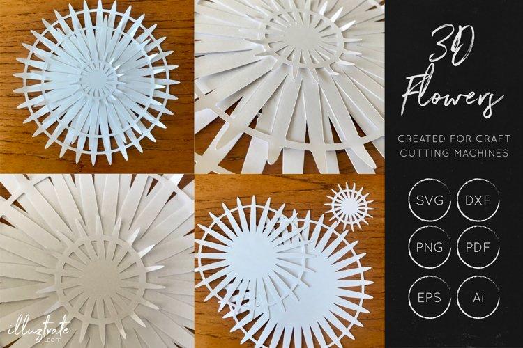 3D Flower SVG Cut Files - Flower SVG - Layered Flower DXF - Free Design of The Week Design1