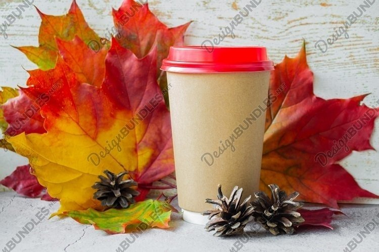 Cardboard cup with maple leaves & fir cones - 2 example image 1