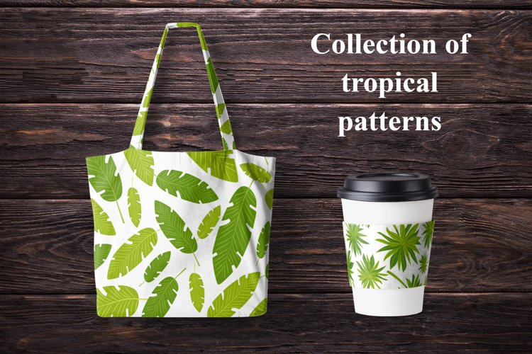Seamless patterns with summer tropical palm leaves.