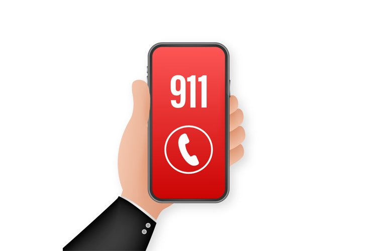 911 smartphone in flat style. Call icon vector. Hand holding example image 1