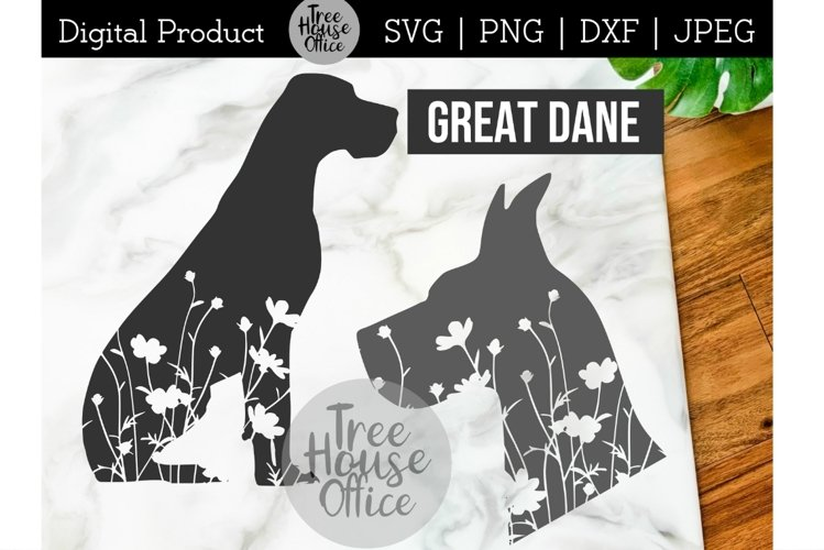 Great Dane Dog Floral SVG, Cute Great Dane with Flowers png example image 1