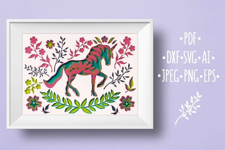 Papercut 3D Horse and Flowers Layered Design