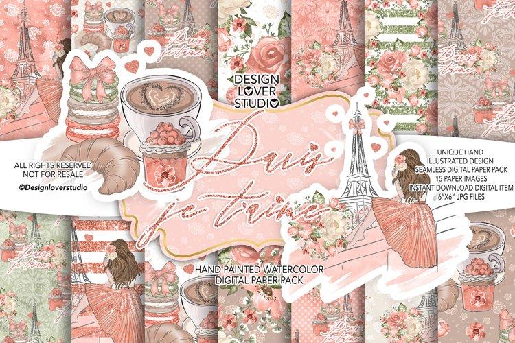 Paris je t'aime digital paper pack example image 1