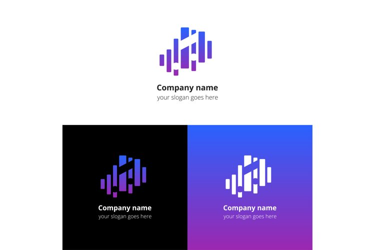 Music note and equalizer beat background flat logo icon vector template.