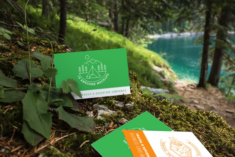 Business cards mockup 03 | Travel Mockup Collection Set 1 example image 1