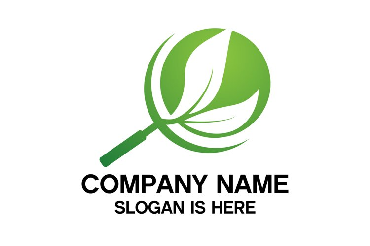 Eco search logo.Magnifier glass with leaf simple line vector example image 1