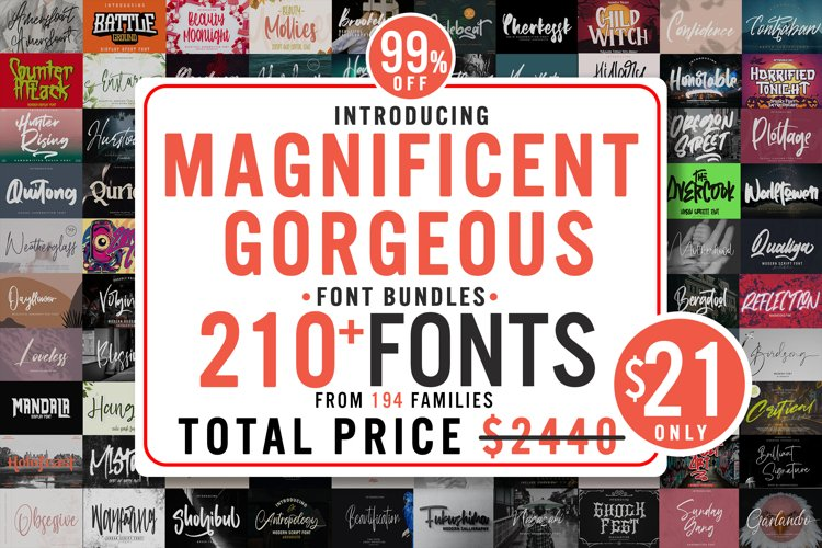 Magnificent Gorgeous 210 Fonts Bundle