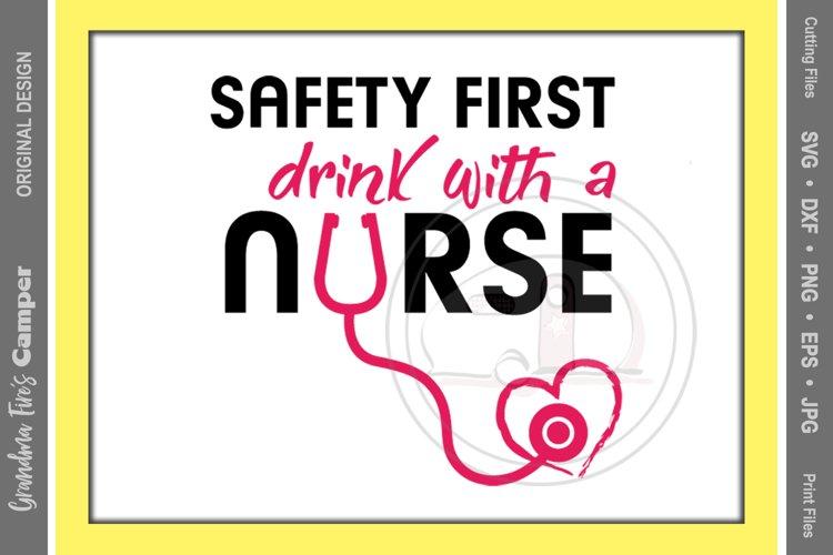 Nurse, Nurse SVG, Nurse Drinking, Safety First example image 1