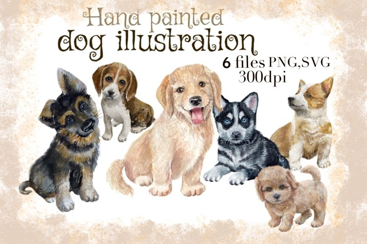 Watercolor Dog portraits ,puppies clipart,Hand drawings dog example image 1