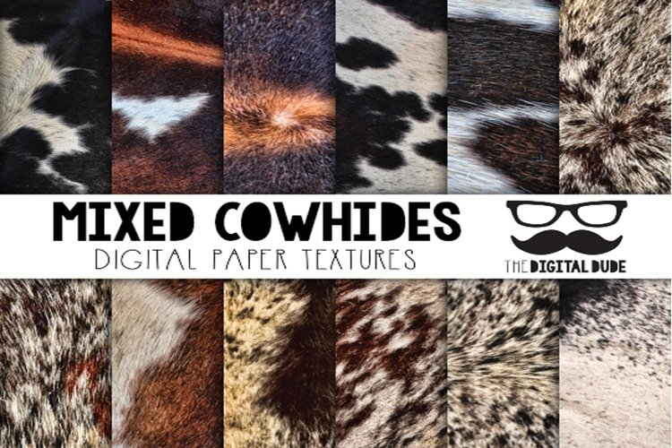Mixed Cowhides - Digital Paper Set of 12 Images