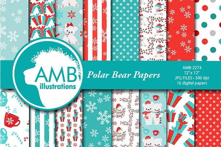 Polar Bear Patterns, Bear Papers, AMB-2275 example image 1