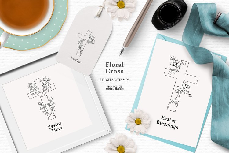 Floral cross clipart   Beautiful Easter clipart