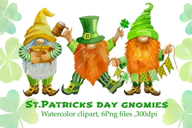 St Patricks Day Gnomes Sublimation designs downloads. example image 1