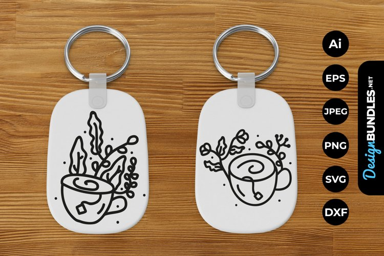 Cup of Flowers Keychain example image 1