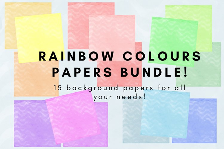 Rainbow Colours papers bundle example image 1