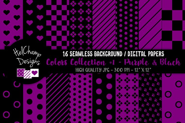 16 seamless Digital Papers - Purple and Black - HC073 example image 1