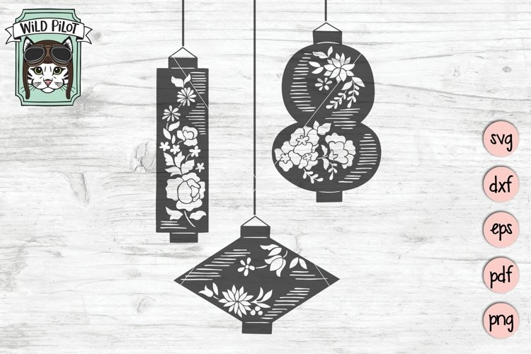 Lanterns SVG Cut File, Hanging Floral Lanterns SVG Cut File