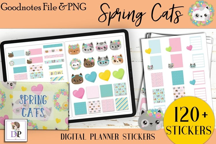 Spring Cats Digital Printable Labels Stickers Goodnotes example image 1